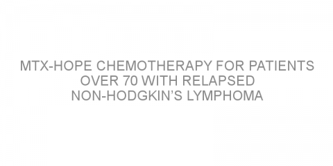 MTX-HOPE chemotherapy for patients over 70 with relapsed non-Hodgkin's lymphoma