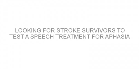 Looking for stroke survivors to test a speech treatment for aphasia