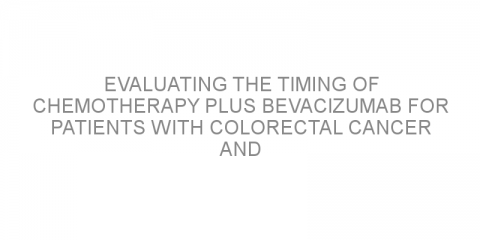 Evaluating the timing of chemotherapy plus bevacizumab for patients with colorectal cancer and liver metastasis