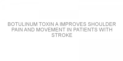 Botulinum toxin A improves shoulder pain and movement in patients with stroke