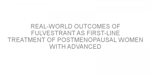 Real-world outcomes of fulvestrant as first-line treatment of postmenopausal women with advanced breast cancer.