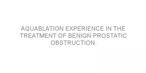 Aquablation experience in the treatment of benign prostatic obstruction.