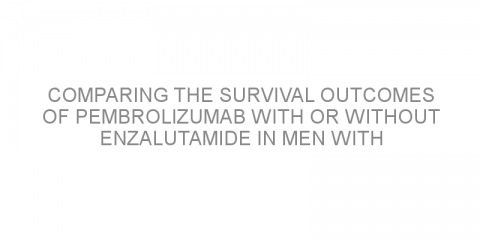 Comparing the survival outcomes of pembrolizumab with or without enzalutamide in men with previously untreated metastatic castration-resistant prostate cancer.