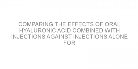 Comparing the effects of oral hyaluronic acid combined with injections against injections alone for the treatment of Peyronie's disease.