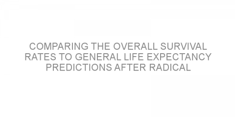 Comparing the overall survival rates to general life expectancy predictions after radical prostatectomy in patients with prostate cancer.