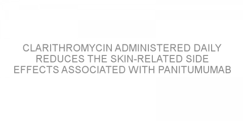 Clarithromycin administered daily reduces the skin-related side effects associated with panitumumab treatment for metastatic colorectal cancer.