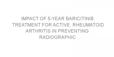 Impact of 5-year baricitinib treatment for active, rheumatoid arthritis in preventing radiographic progression of joint damage.